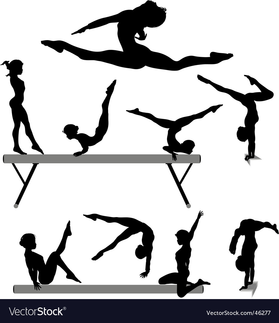 Female gymnast silhouettes