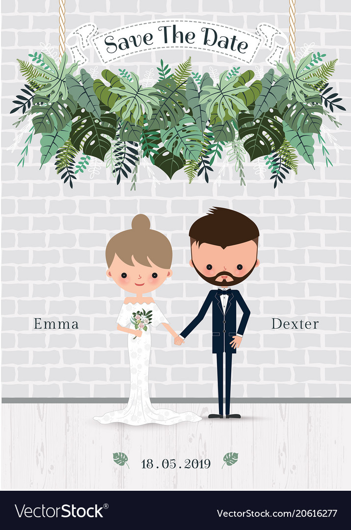 Green wedding cartoon bride and groom invitation