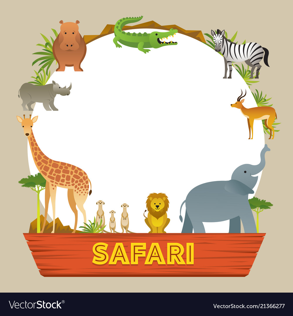 Group Of African Safari Animals Frame
