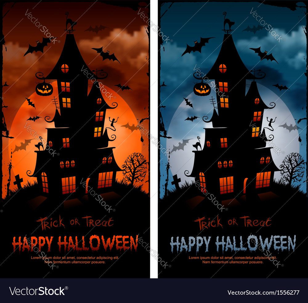Halloween night background with haunted house and