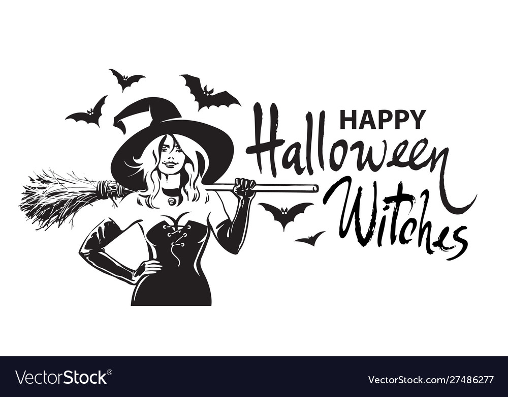 Happy halloween witches comic hand drawn lettering