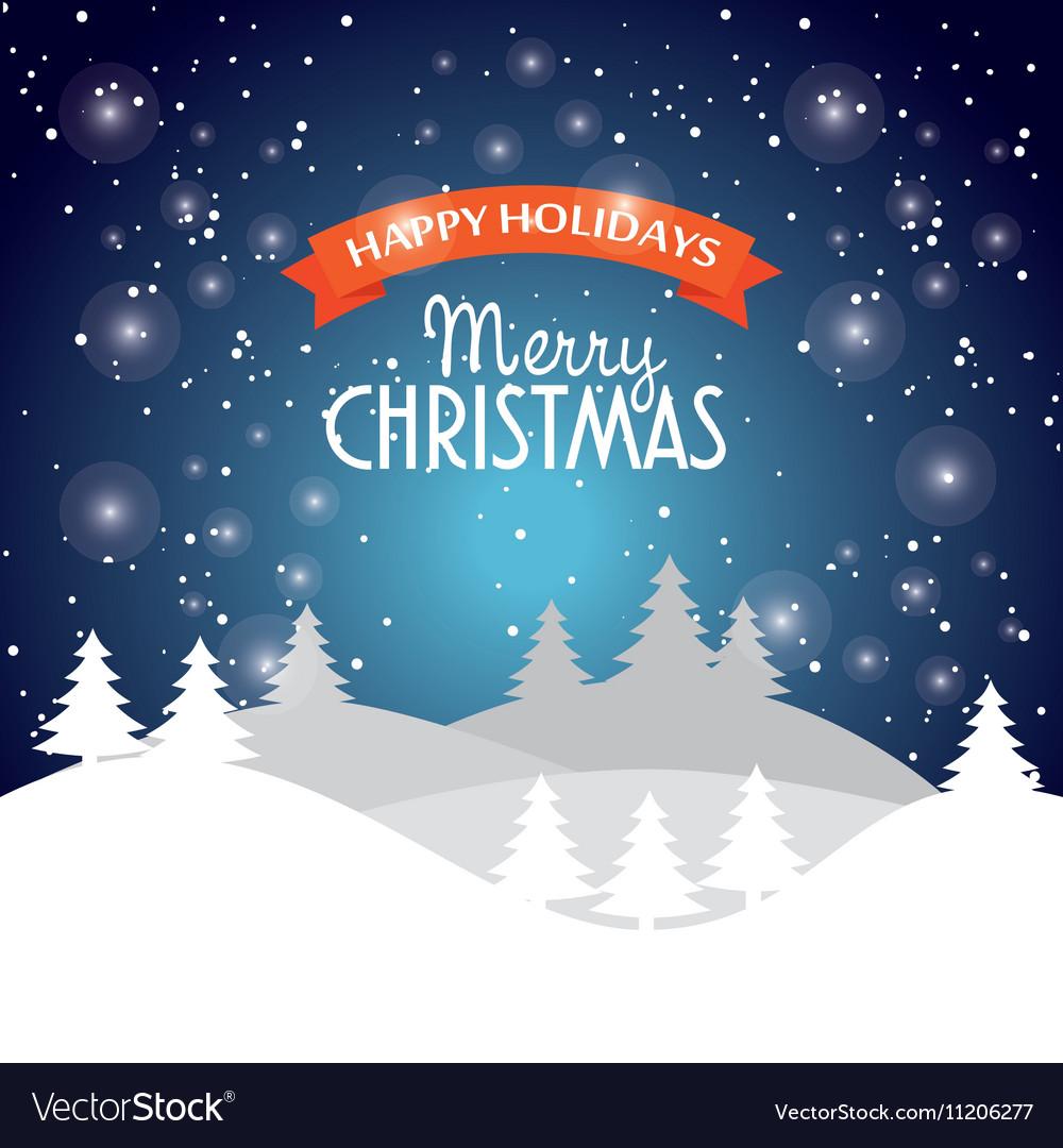 Happy holidays merry christmas landscape snow star