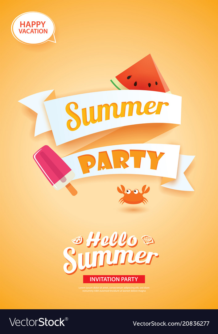 Hello summer party card banner with orange vector image