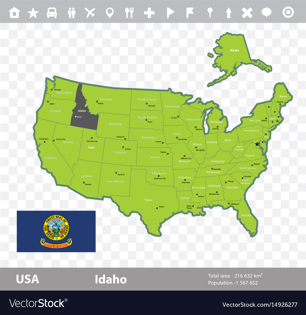 Idaho Flag And Map Royalty Free Vector Image Vectorstock