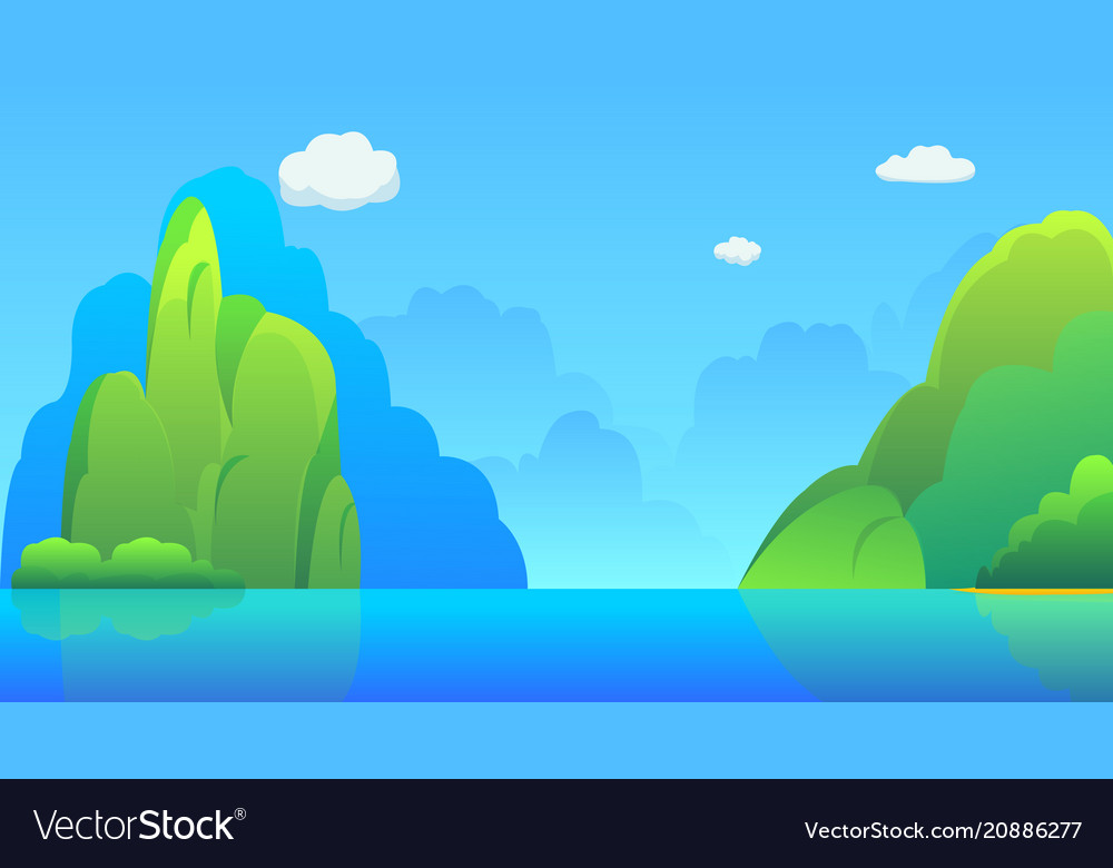 Islands with hills and sky background