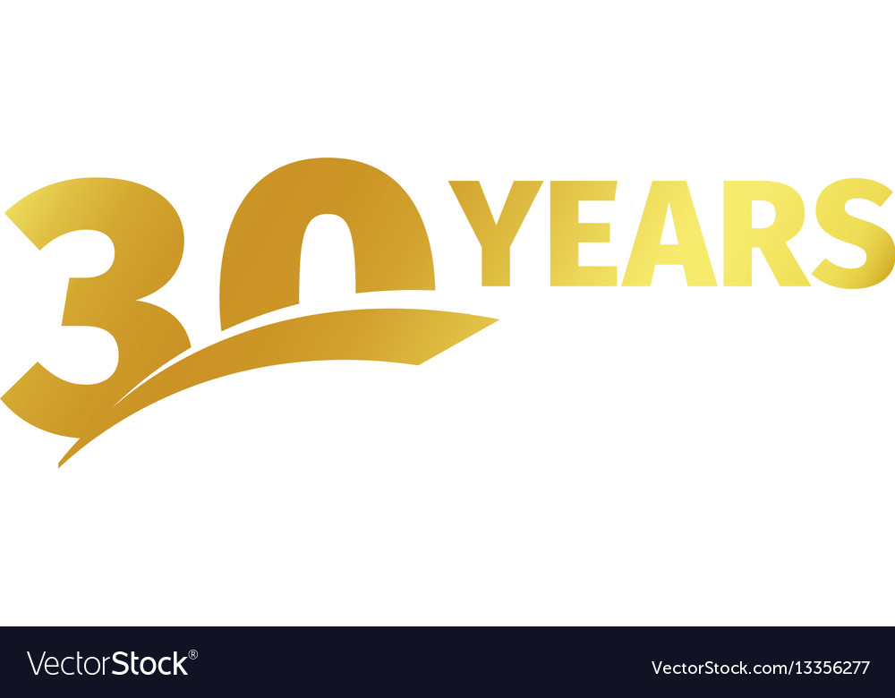 Isolated golden color number 30 with word years vector image