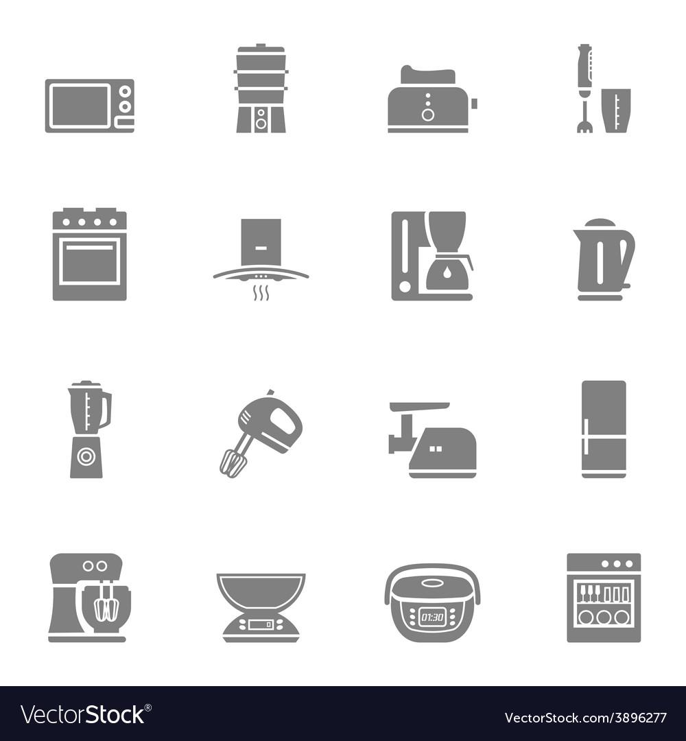 Kitchen Appliances Silhouette Icon Set Royalty Free Vector