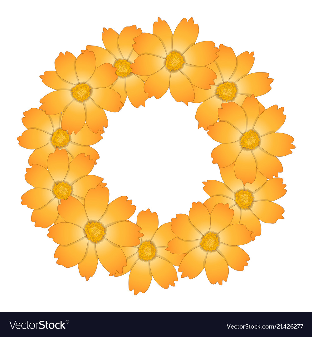Orange yellow cosmos flower wreath royalty free vector image orange yellow cosmos flower wreath vector image mightylinksfo