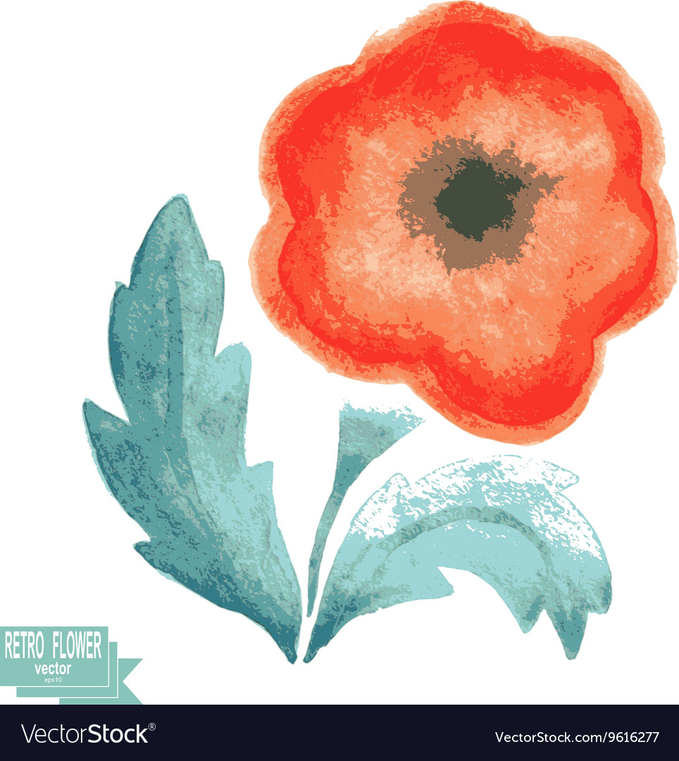 Retro watercolor flower on a white background