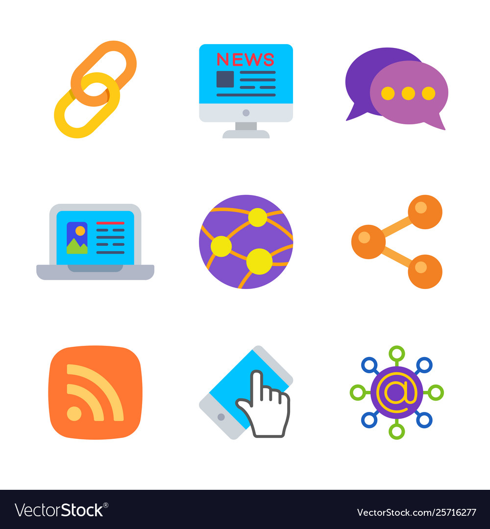 Social and connect colored trendy icon pack 1