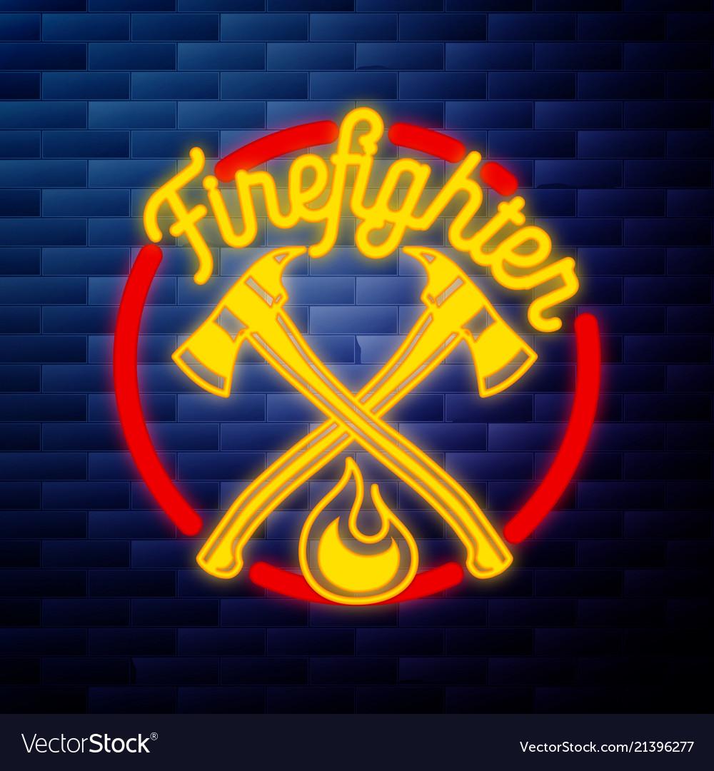 Vintage fireman emblem glowing neon