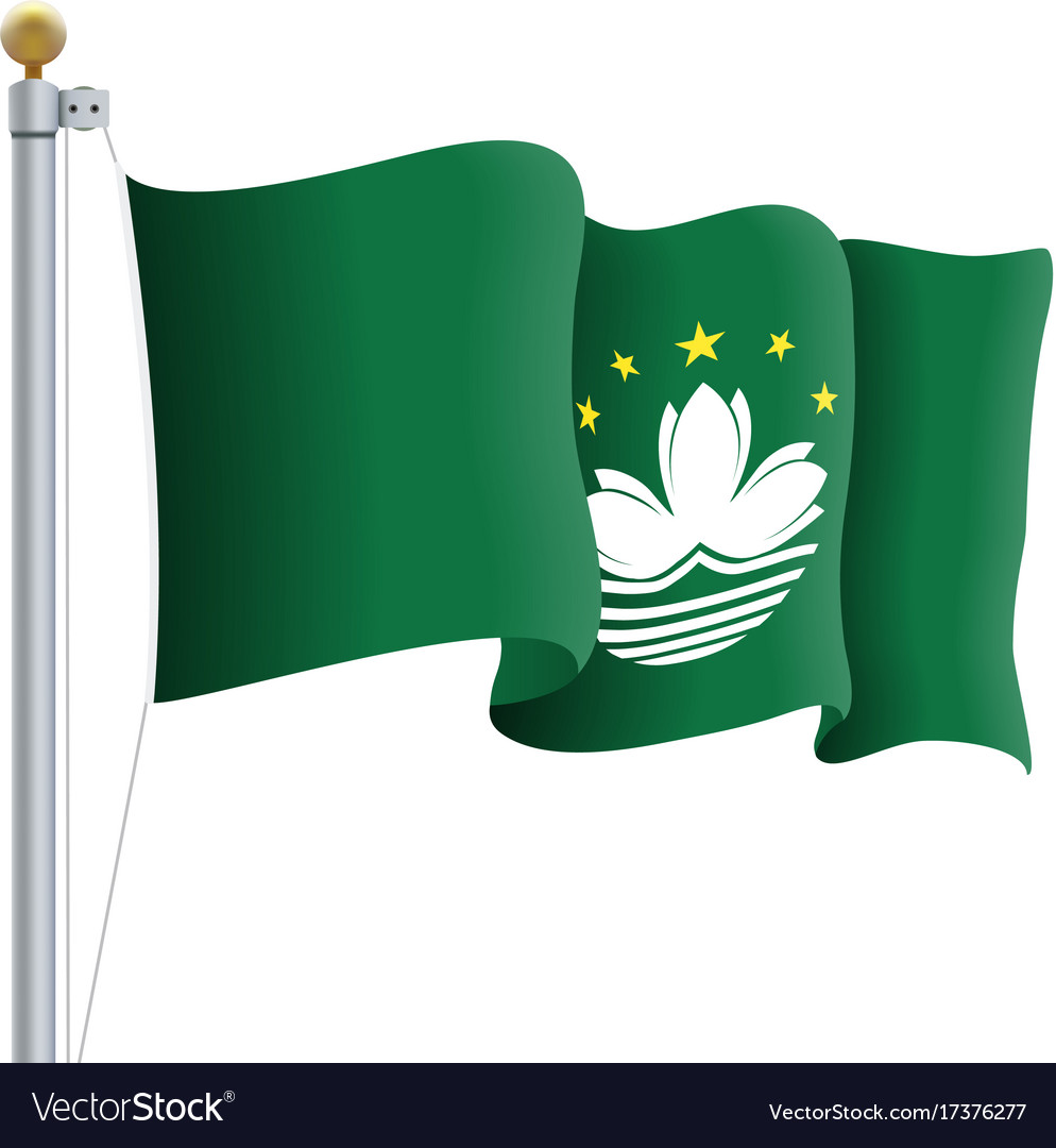 Waving macau flag isolated on a white background