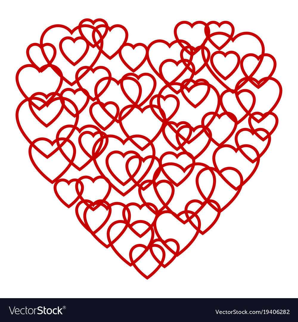 a big red heart made up of little hearts vector image rh vectorstock com heart made of text symbols big heart made of text