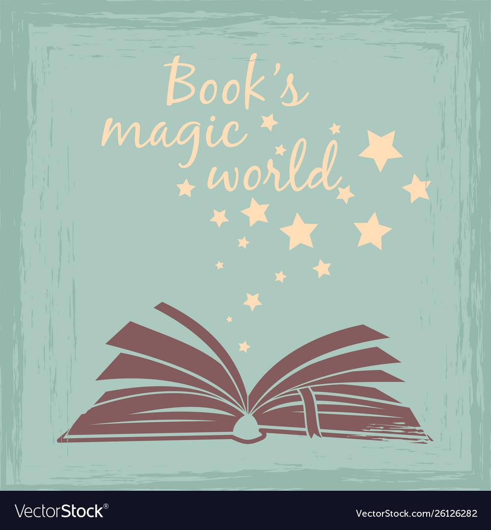 Books magic worlds vintage poster