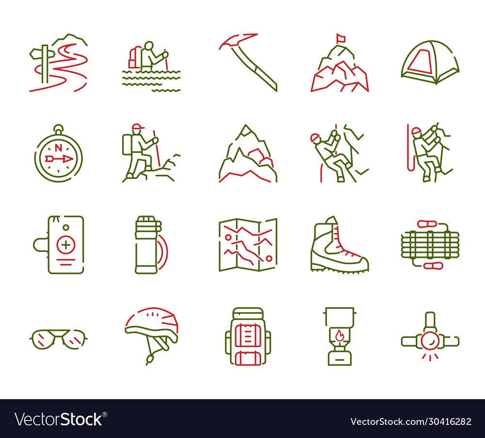 Color linear icon set climbing hiking
