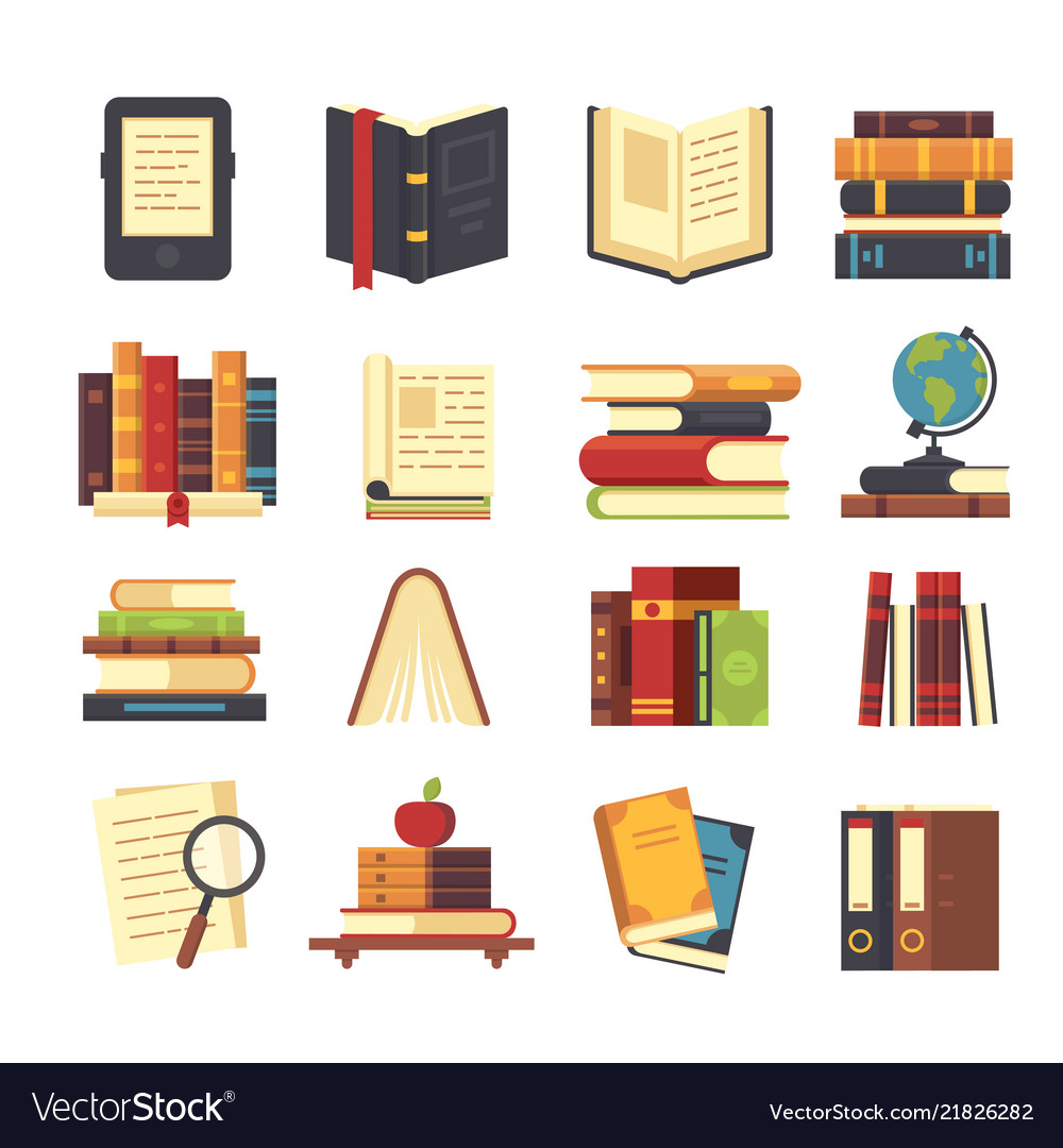 Flat book icons library books open dictionary