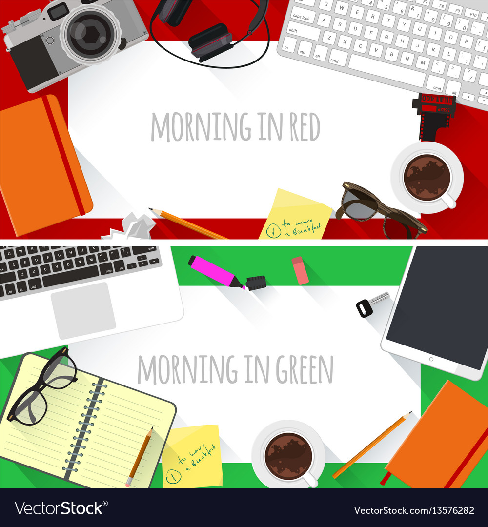 Flat design creative workplace vector image