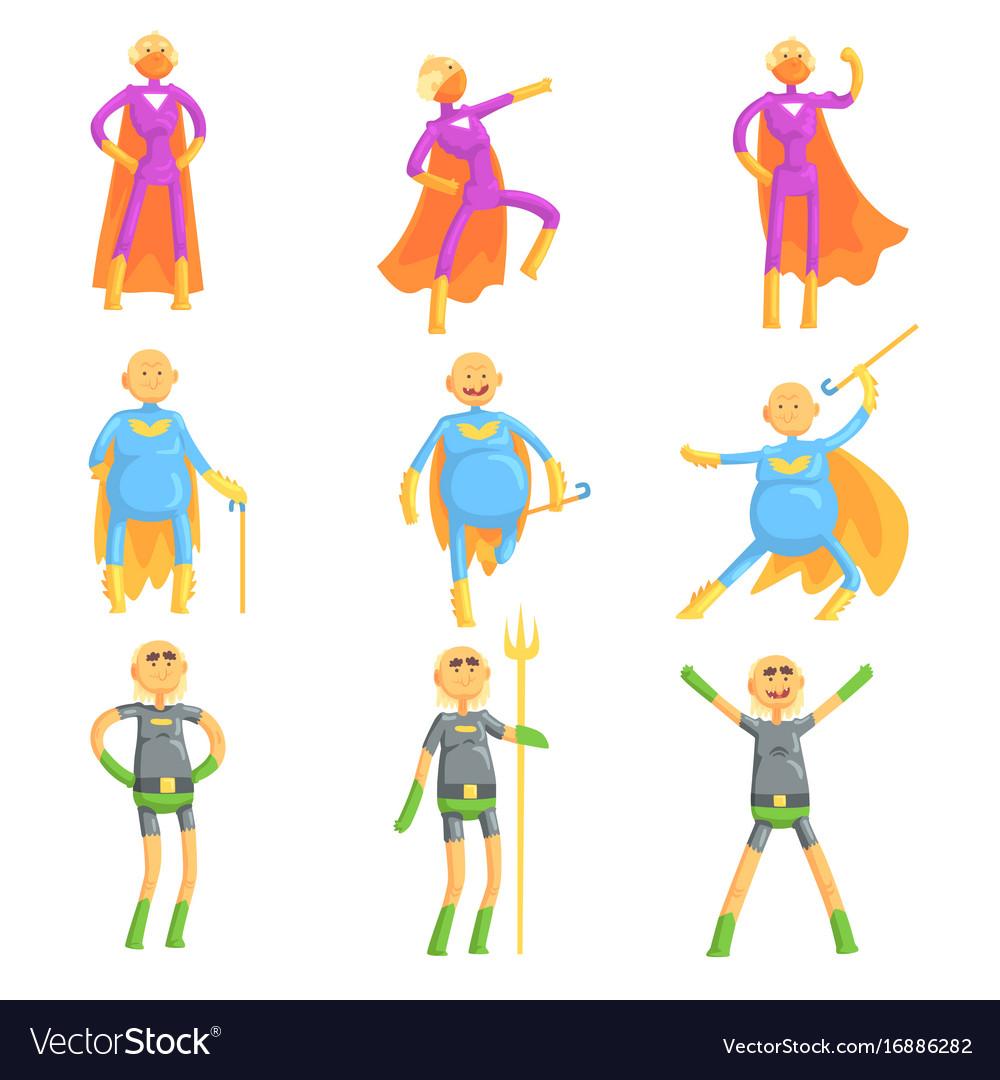 sc 1 st  VectorStock & Funny elderly men in superman costume old Vector Image