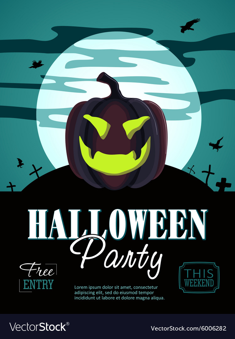 Halloween Party Design template with pumpkin