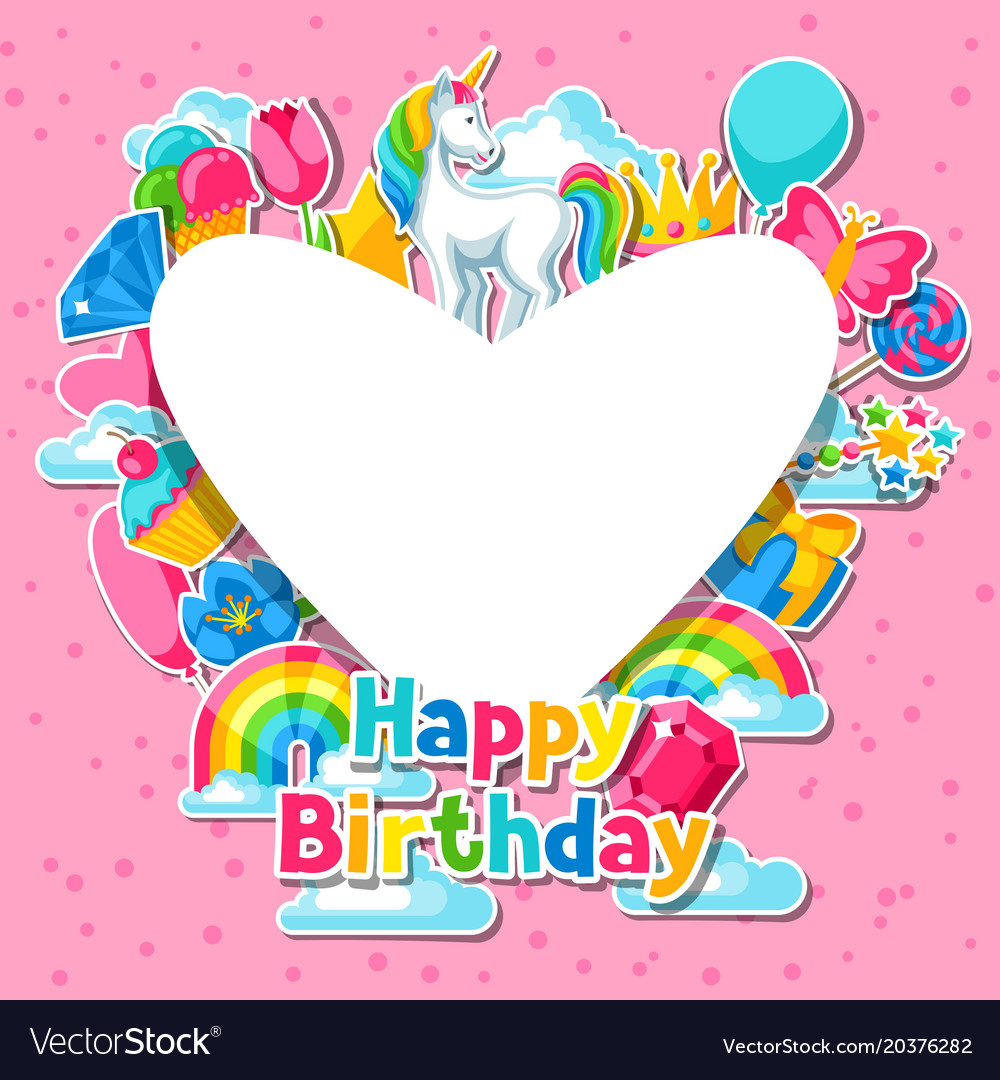 Happy Birthday Card With Unicorn And Fantasy Vector Image