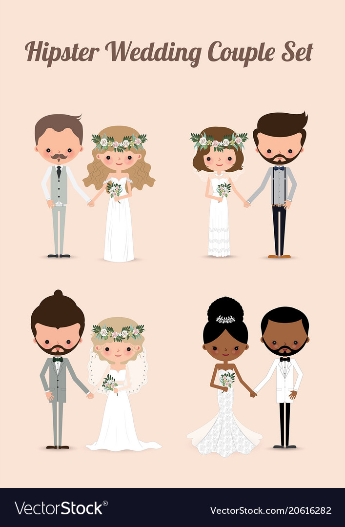 Hipster wedding couple set 01