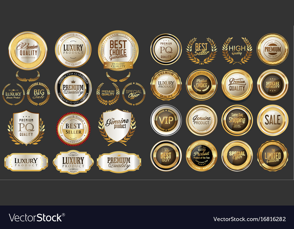 Luxury gold and silver design badges abd labels