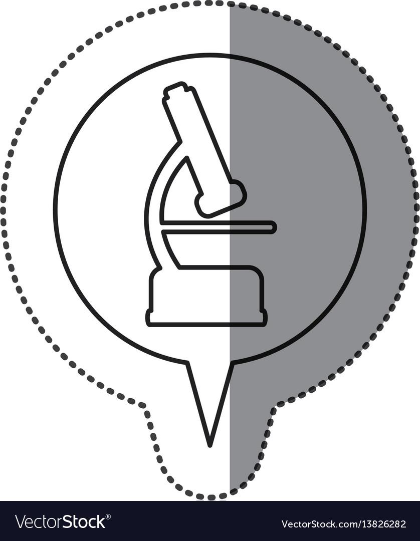 Monochrome contour sticker with microscope icon in vector image