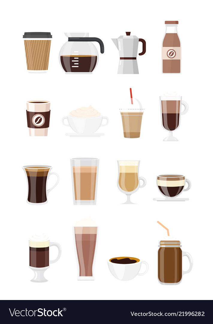 Set of coffee drinks