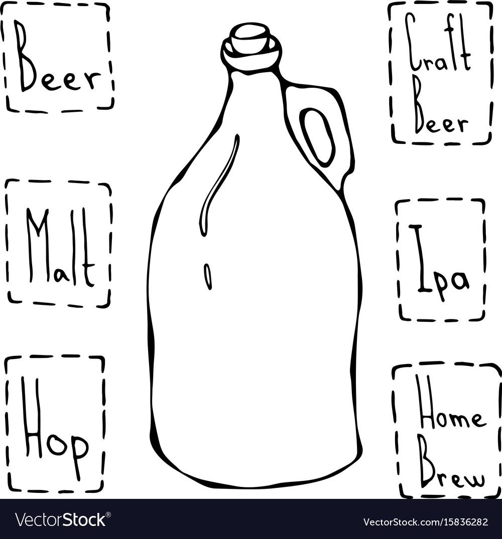 Vintage beer bottle hand drawn vector image