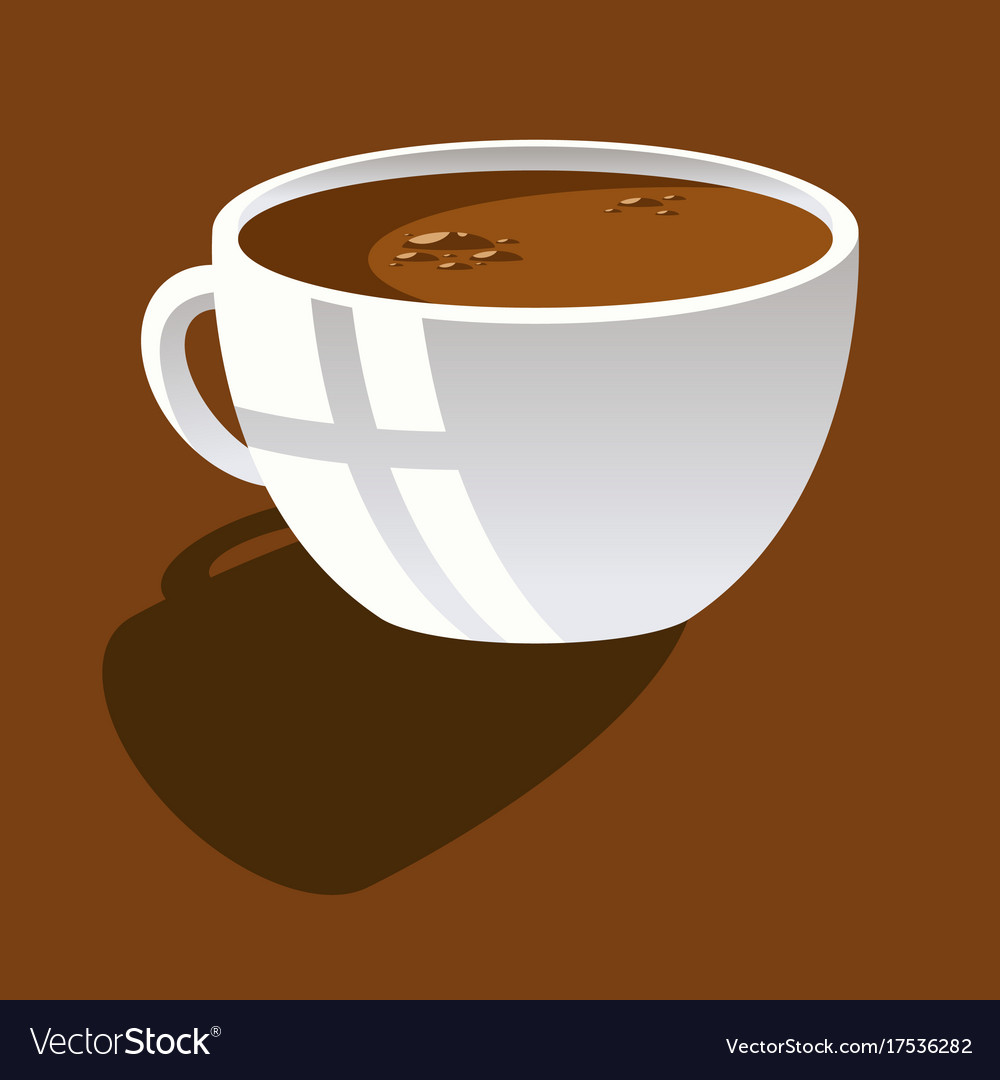 White cup with coffee on a brown background
