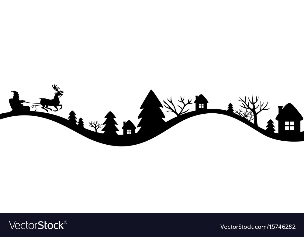 Winters landscape with santa sleigh