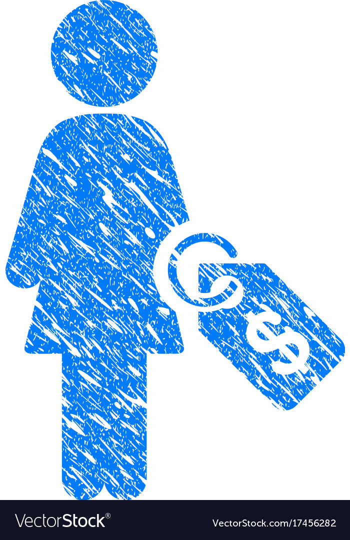 Woman price tag grunge icon vector image