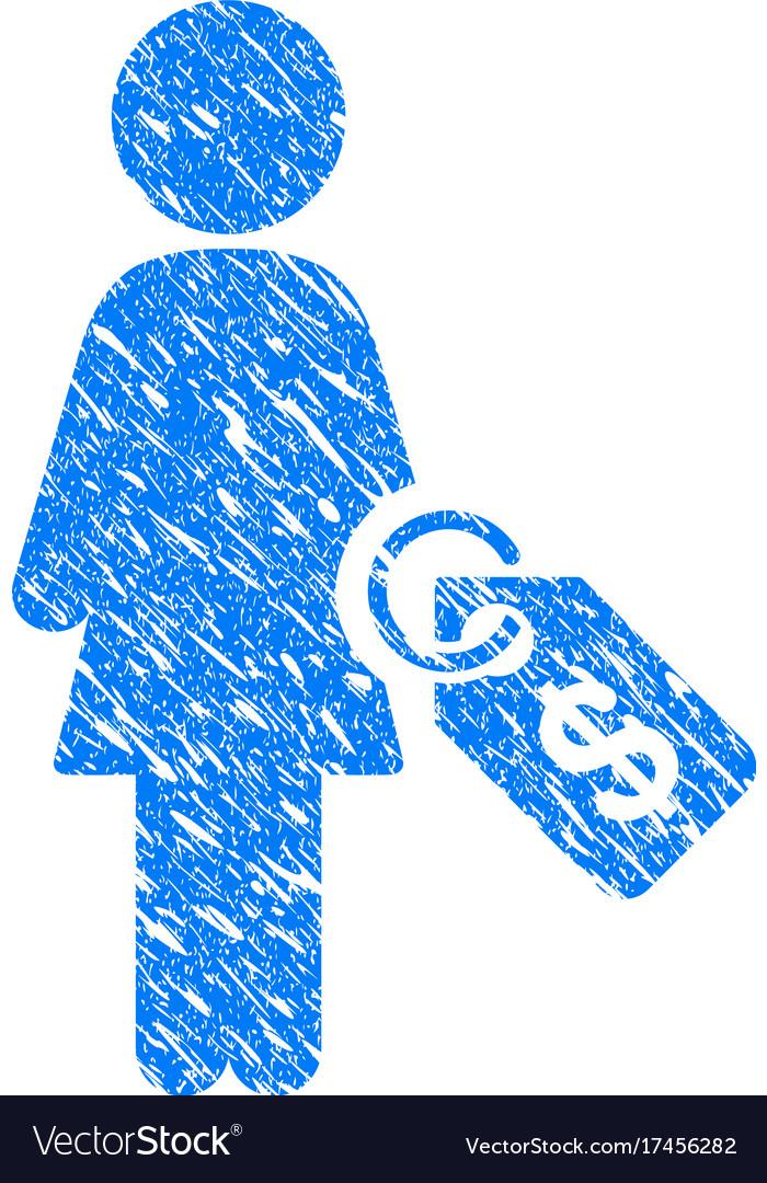Woman price tag grunge icon