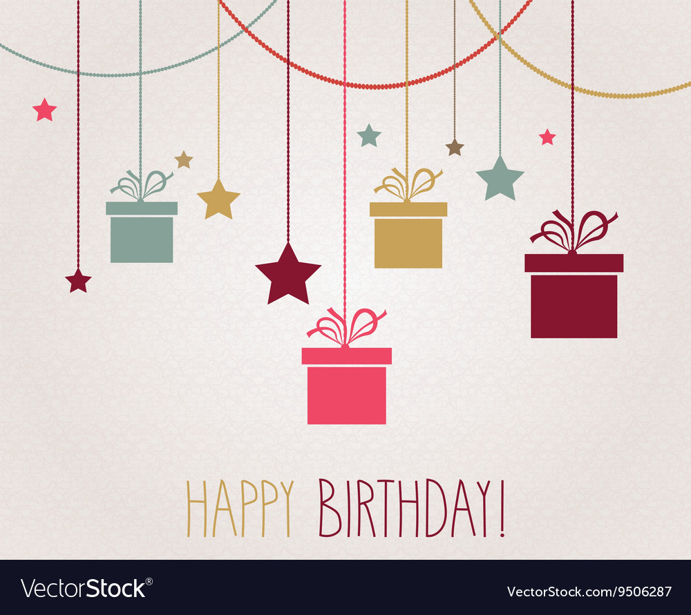 Birthday card with presents design vector image