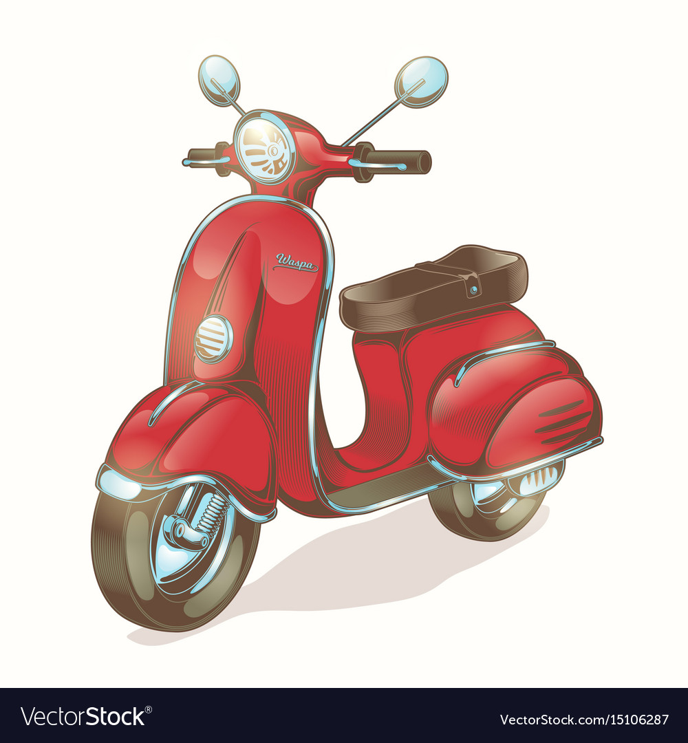 Color red scooter moped