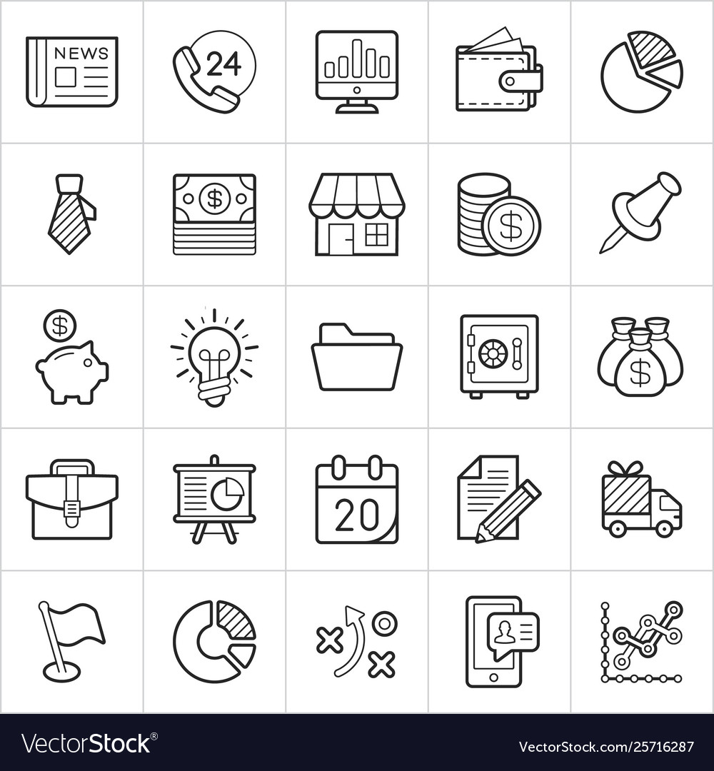Commerce trendy style icons on white background