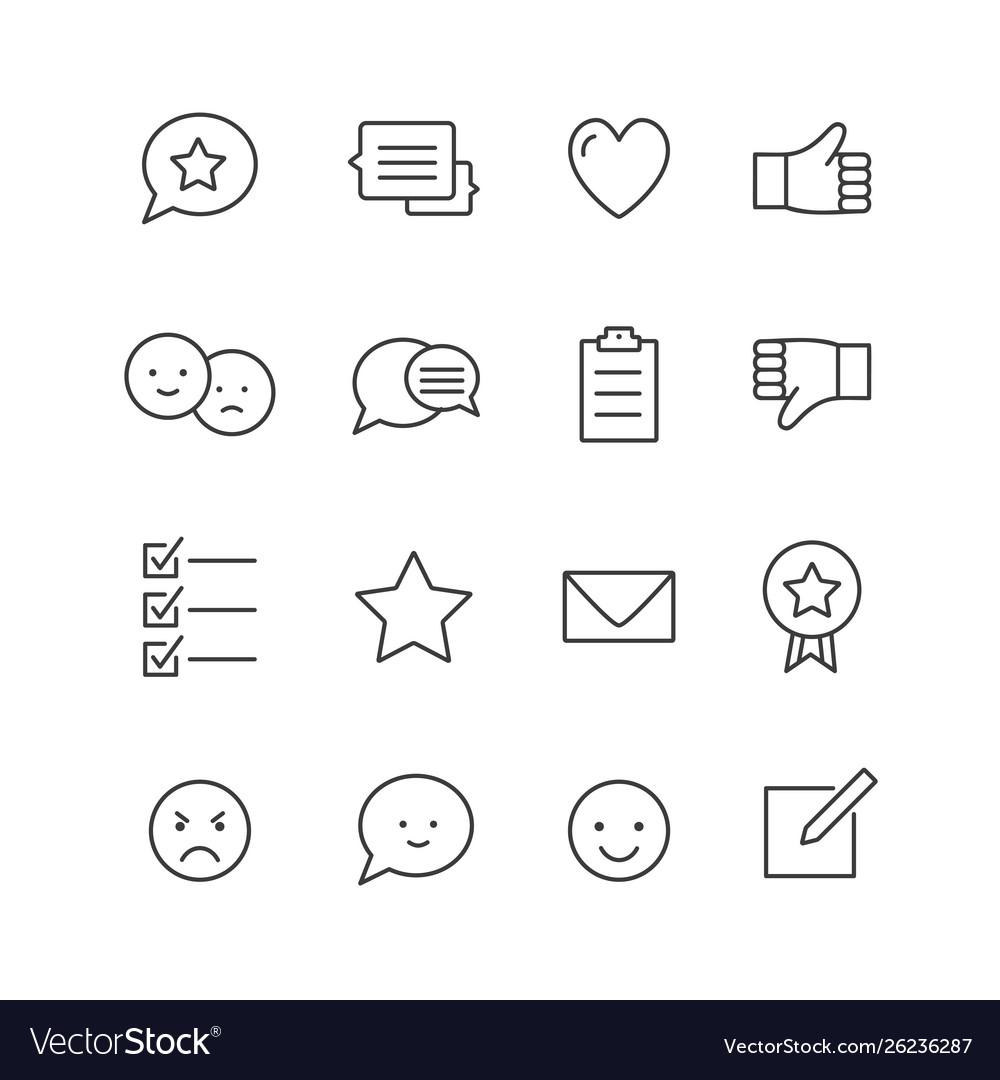 Feedback icons thin line icons set testimonials