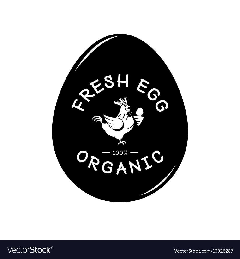 Fresh egg logo with hen and egg form background
