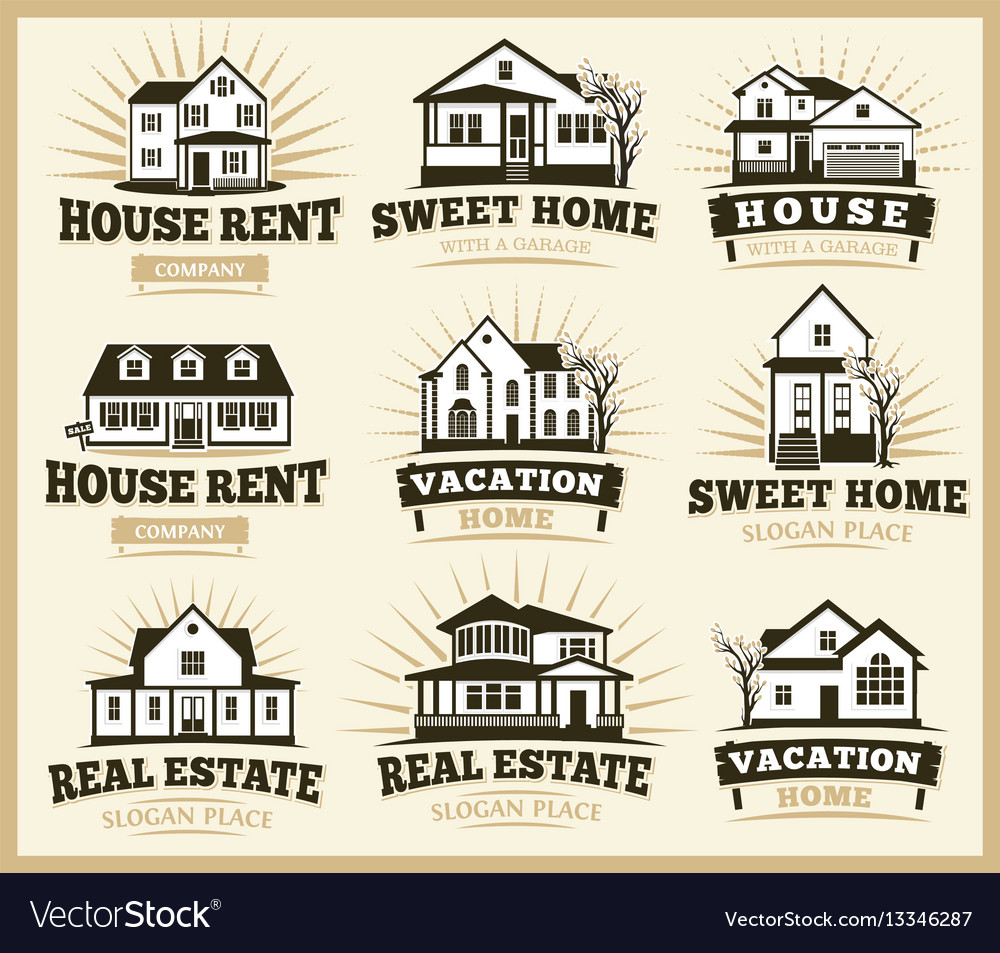 Isolated brown color architectural houses icons