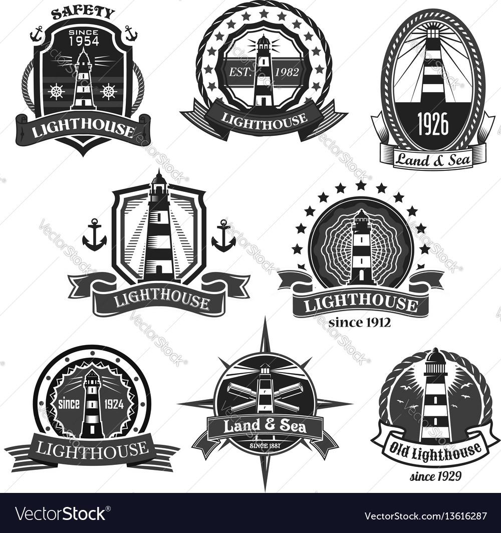 Lighthouse nautcal icons set