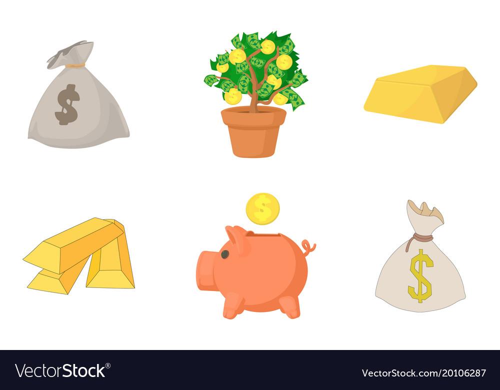 Money icon set cartoon style