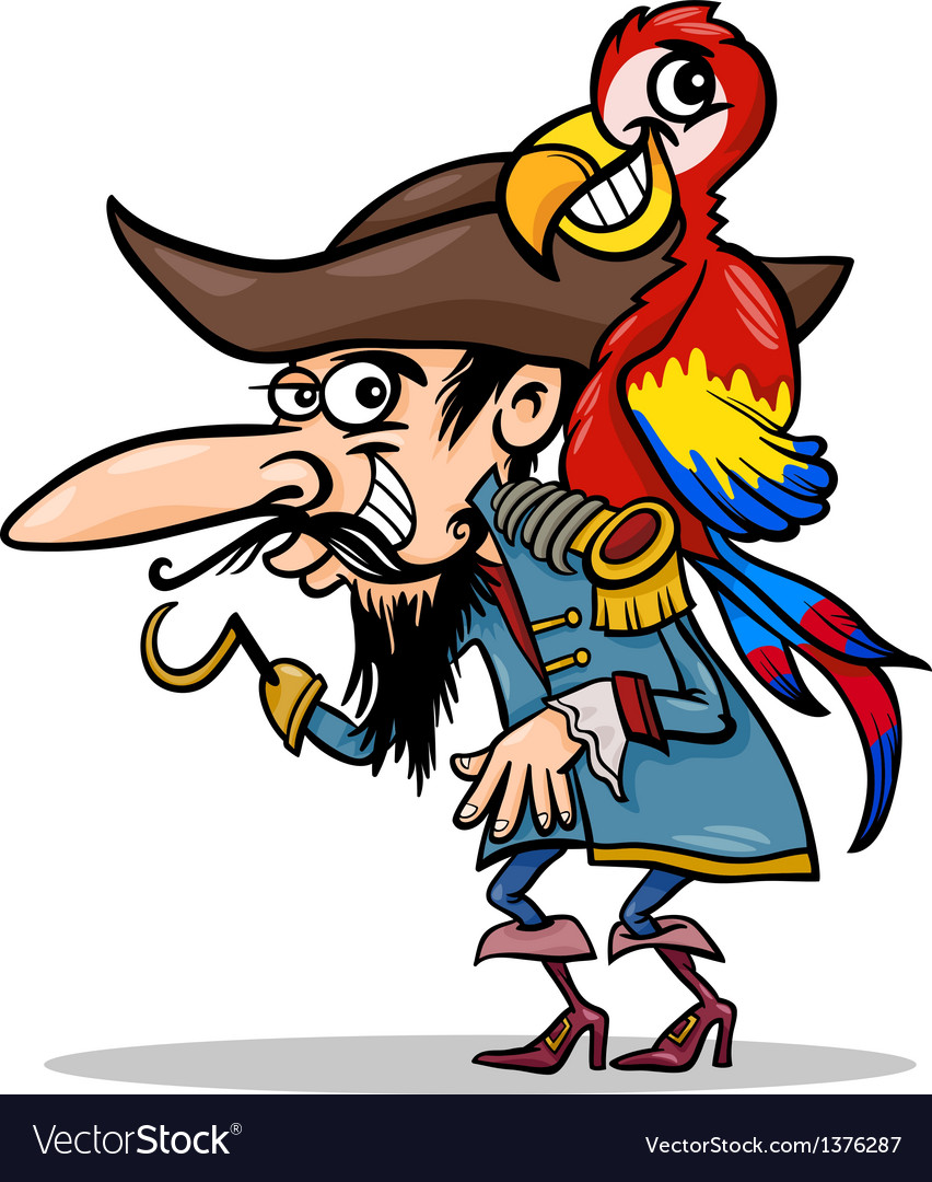 Pirate with parrot cartoon