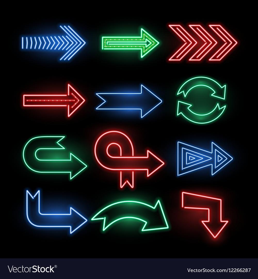Retro neon direction arrow signs icons