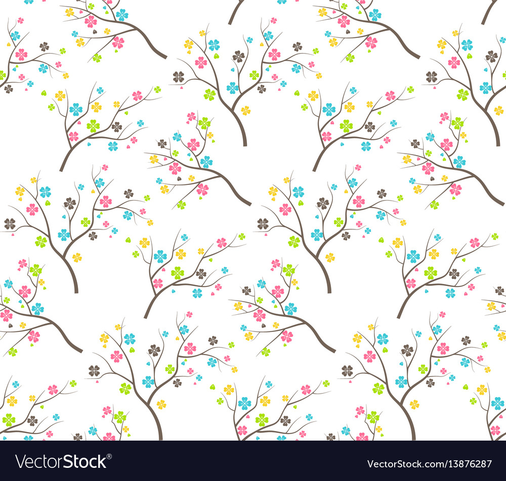 Seamless bright fun abstract spring summer flower