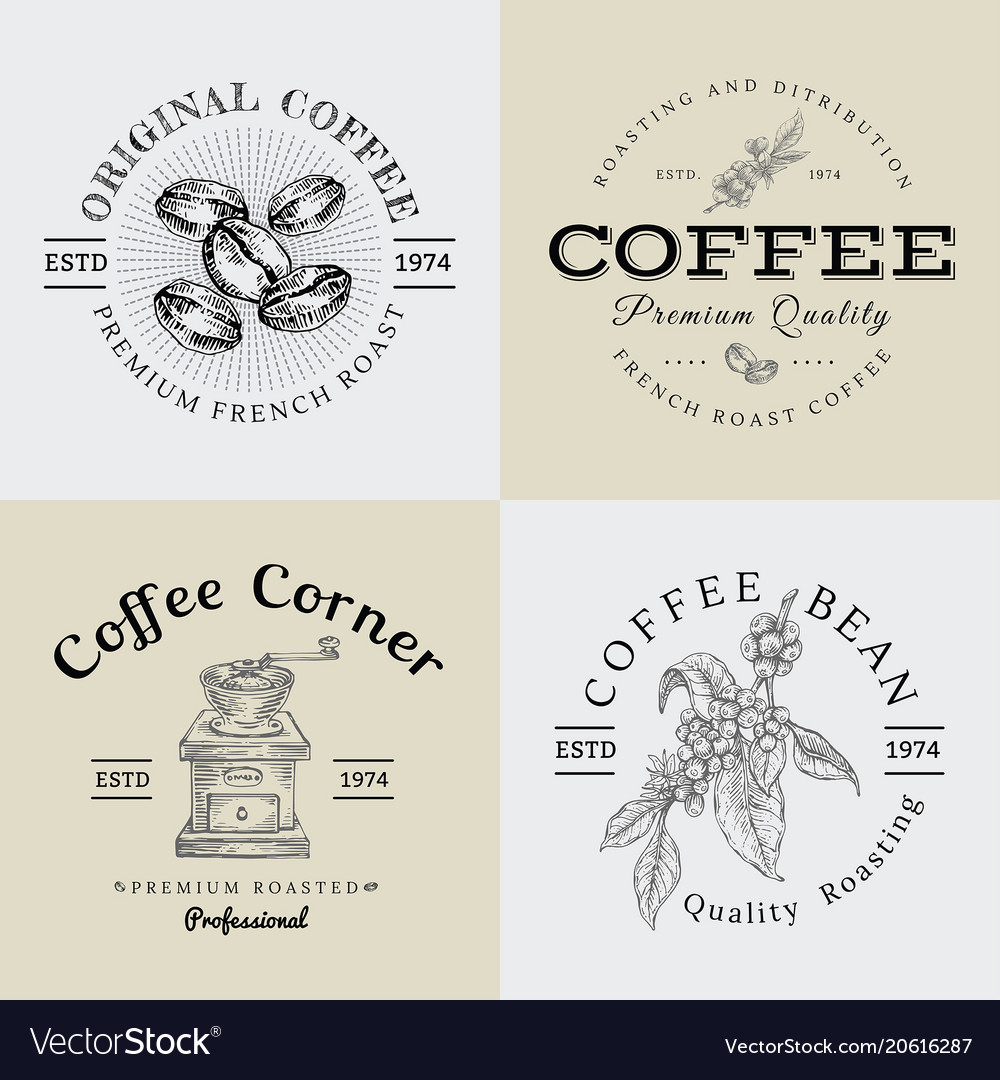 Set of vintage coffee logo and