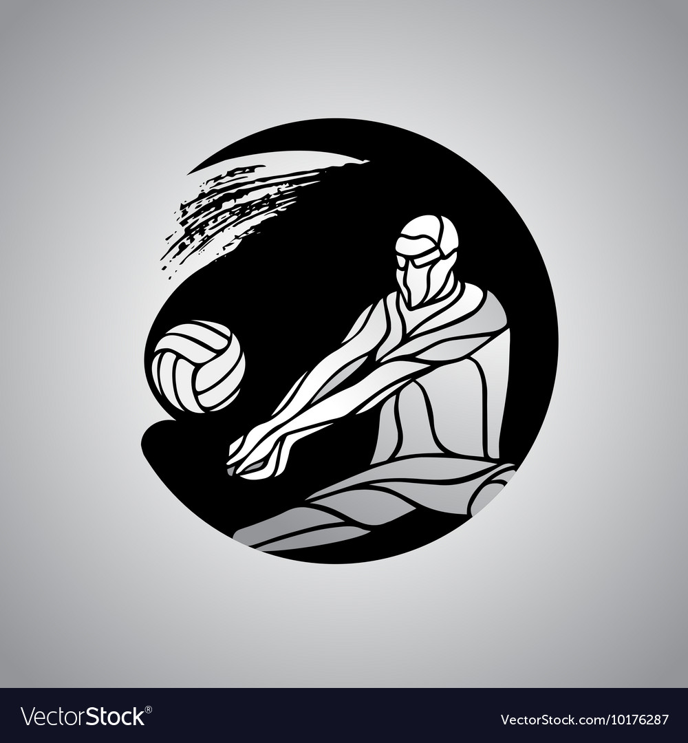 Volleyball player receive ball silhouette logo