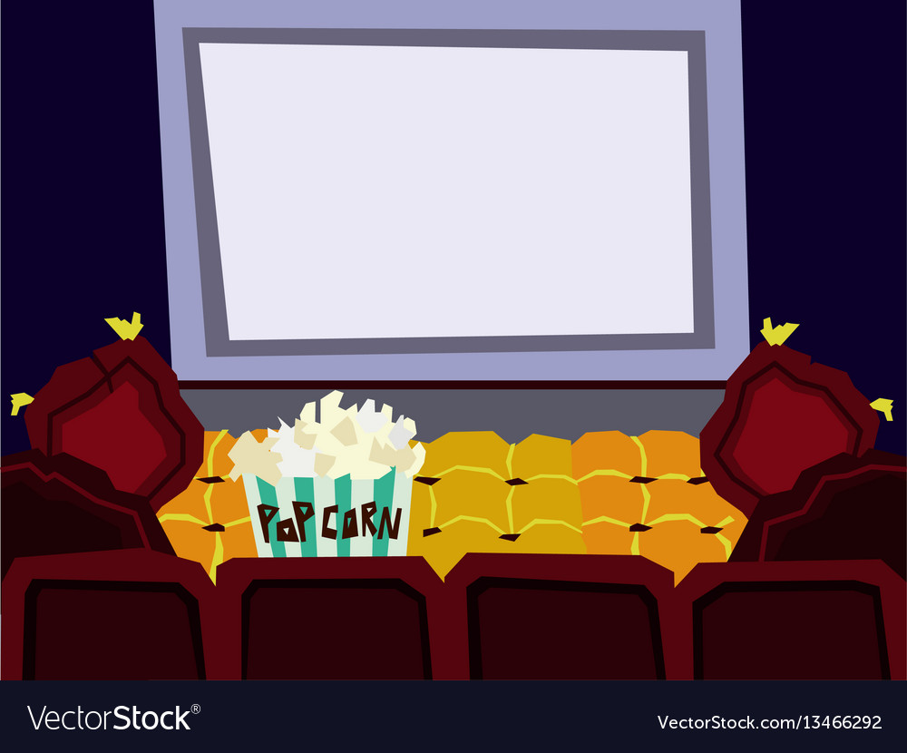 Cartoon Flat Cinema Hall Interior Royalty Free Vector Image