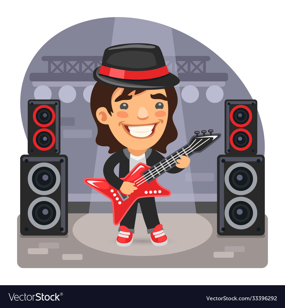Cartoon guitarist on stage