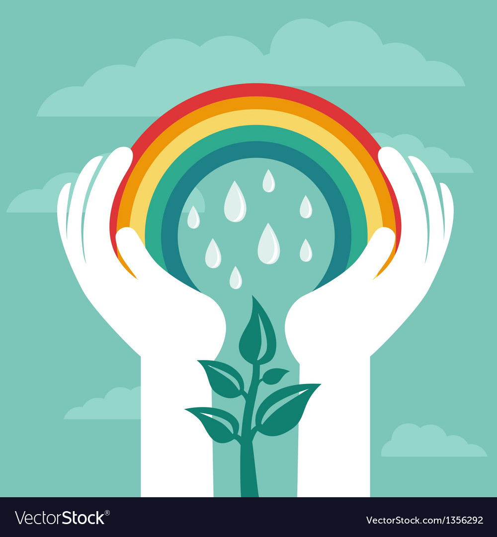 Creative concept with rainbow vector image