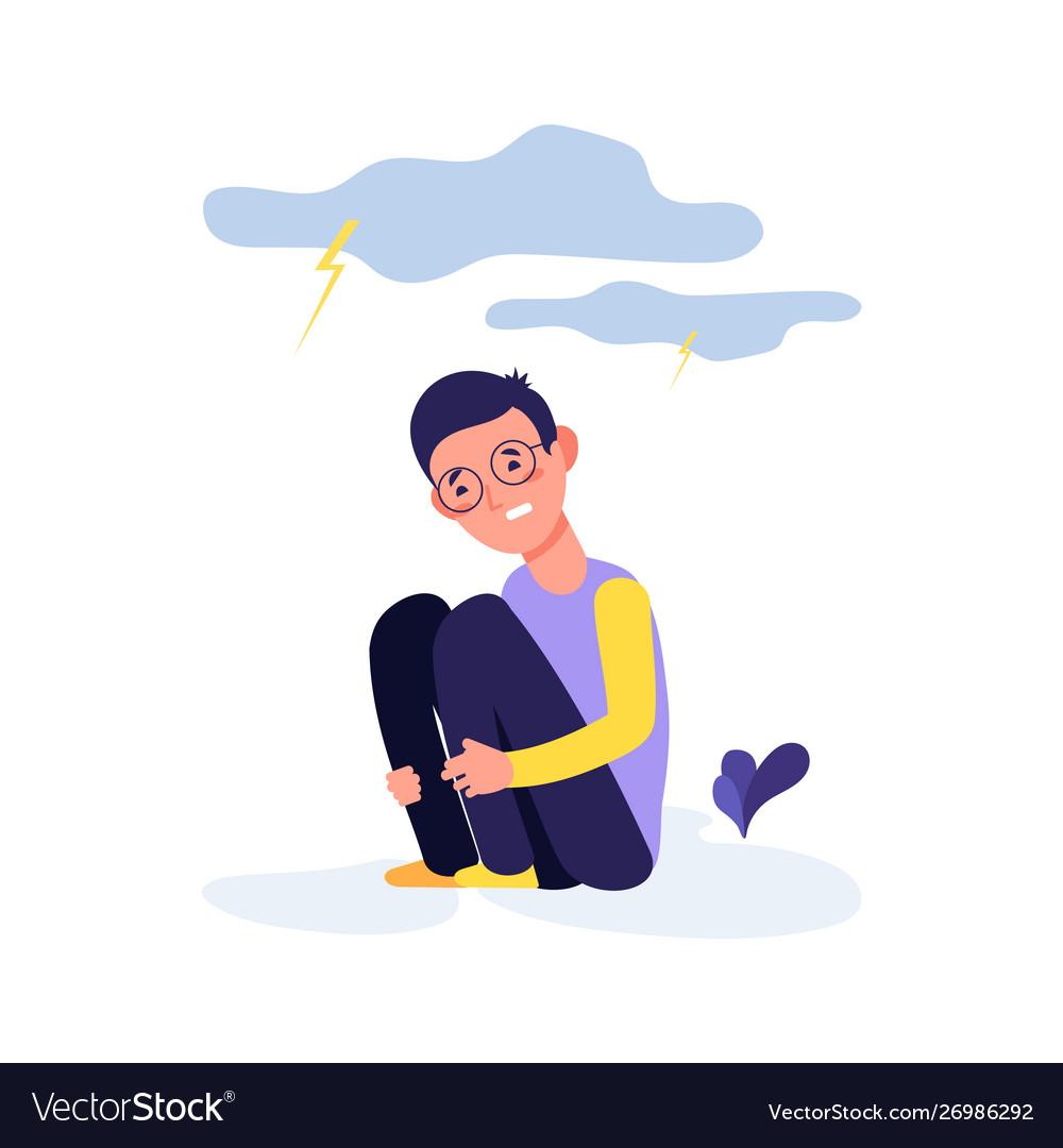 Depressed kid crying boy tired sad child